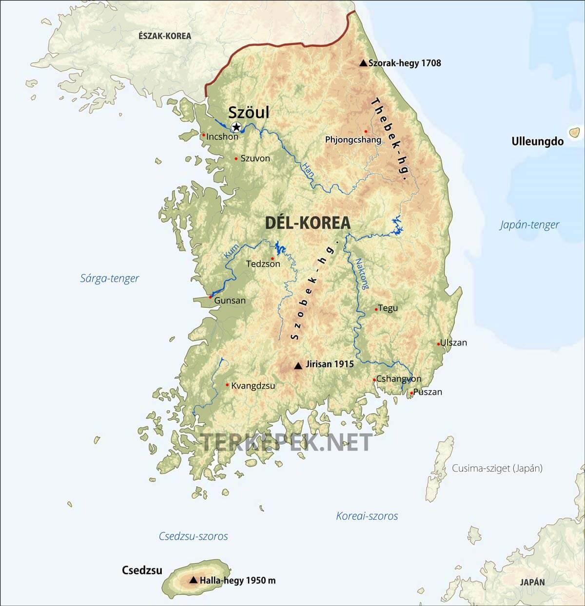 észak korea térkép Dél Korea térkép észak korea térkép
